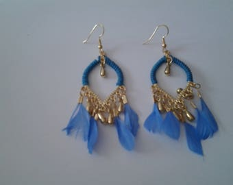 A blue feather earrings