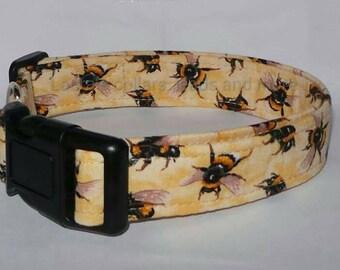Handmade bumblebee fabric dog collar , dog collar , dog collar uk , bumblebees , bees , bumble bee , adjustable , small , medium , large