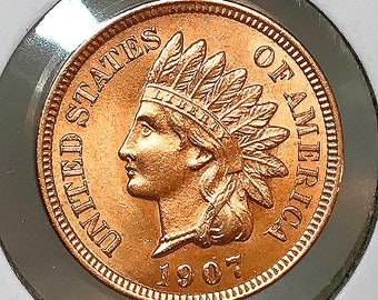 1907 Indian Head Cent - Gem BU / MS RD / Unc