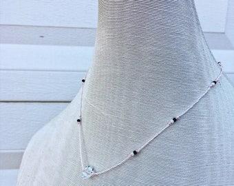 Baby pink beaded Herkimer diamond necklace