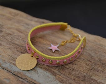 Mini bracelet cuff in Suede, pink/yellow tones, sequins, gold, charm bracelet colorful summer