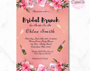 BRIDAL SHOWER Digital Invitation Pink Tropical Modern and Chic DIY Invite Tropical -Loveys Paperie Shop