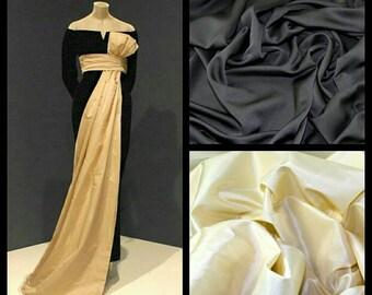 Custom Made 1960's Bolenciaga Black Crepe Floor Length Gown with a Cream Taffeta Sash and Bow