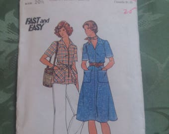 Butterick pattern size 20 1/2 fast and easy #4265 uncut