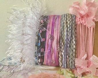 Creative Art Yarn Bundle Art Fiber Bundle Yarn Scraps Art Yarn Pink Yarn Bundle Yarn Bundle Fiber Yarn Bundle Textile Fiber Art Bundle