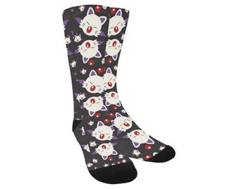 Moogle Socks - Knee High Socks Final Fantasy Socks Cosplay Socks Comicon Socks Plus Size Socks Mog Socks Final Fantasy VII Trouser Socks