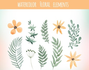 yellow and green watercolor floral elements, SUmmer flowers, floral elements set, invitation elements, floral clip art, boho invitation