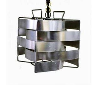 Cube Pendant Light by Max Sauze, 1970  France - Silver pendant - Cubic - Small Pendant - Vintage Pendant - French Lighting - Vintiques