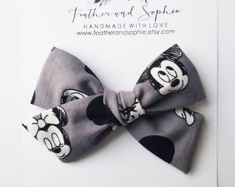 Mickey mouse, Disney bow, schoolgirl bow, fabric bow, headband or clip.