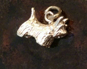 Vintage sterling silver west highland terrier schnauzer scotty dog charm necklace pendant or keychain charm
