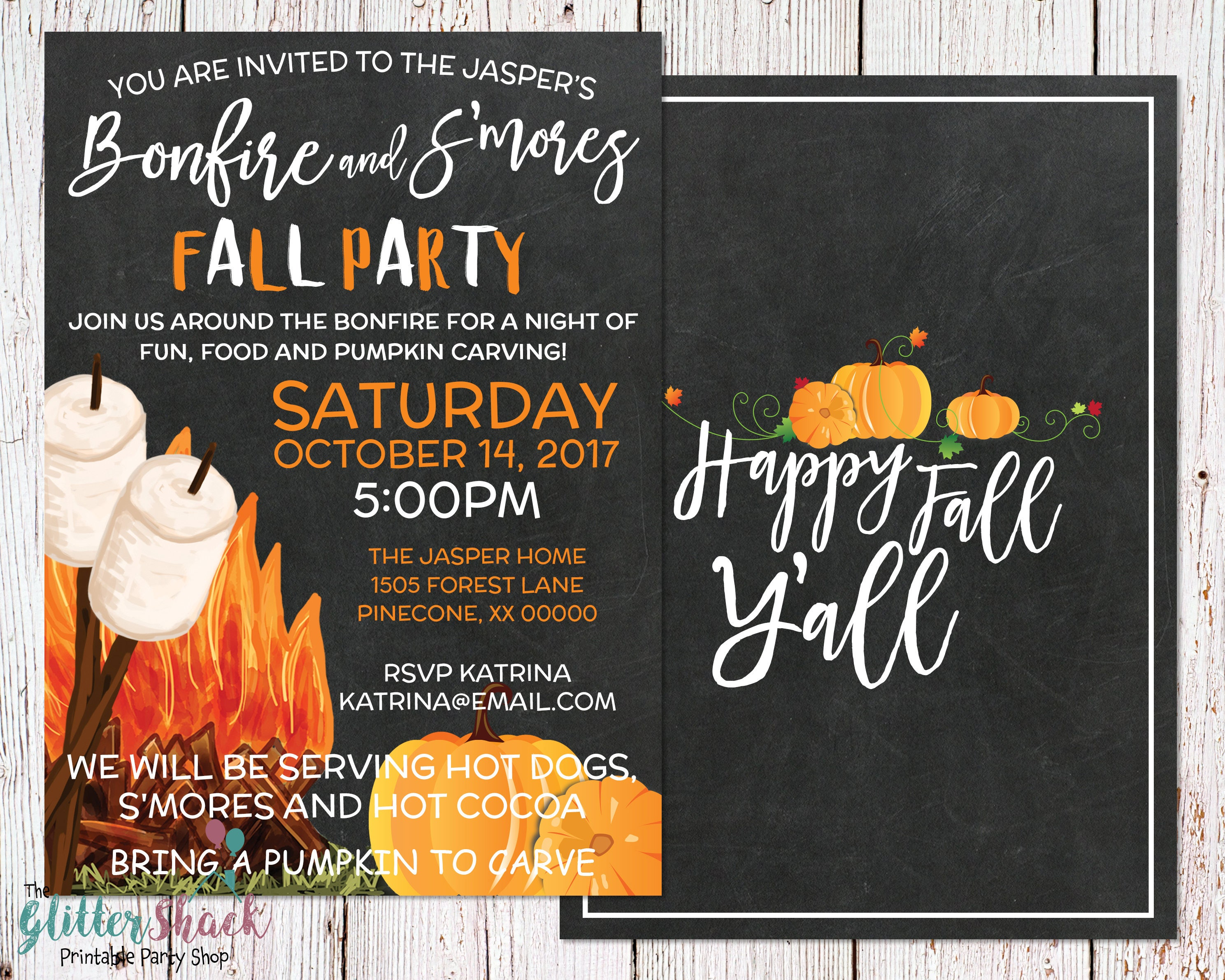 Fall Party Invitation Happy Fall Y\'all Autumn Party
