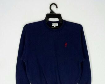 Rare!! U.S. POLO ASSOCIATION sweatshirt embroidery nice design small pony dark blue colour medium size