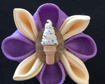 Free shipping! Purple and Cream Ice Cream Cone Mini Kanzashi