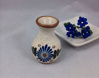 Vase-Tonala Miniature Sand Pottery Blue Floral Vase