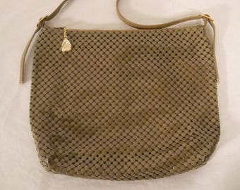 Vintage purse, metal mesh purse, 1980s purse, disco purse, Whiting and Davis