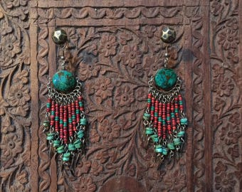 Vintage white heart & turquoise earrings