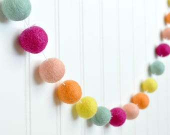 Pink and Yellow Girl Room Decorations, Pink and Orange Felt Ball Garland, Pink and Yellow Garland Girl Birthday Decorations Girl Baby Shower