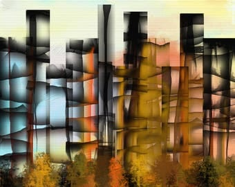 City Leaves Signed Art Print From Original Digital Painting