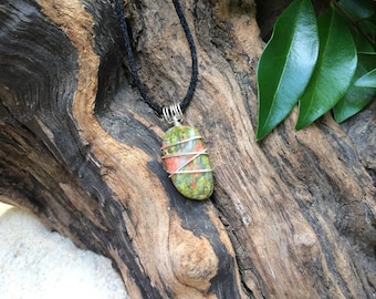 Olive and Pink Unakite Gemstone Pendant