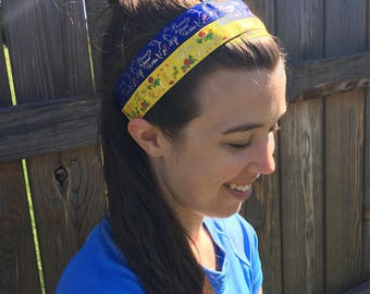 Beauty and the Beast running headbands. Tale as old as time yellow, Beauty is found within blue Disney. Non-slip adjustable size headband