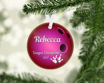 Bowling Ball Pink Ornament