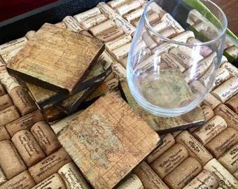 Vintage Map Coasters, Wooden Coasters, Set of 6