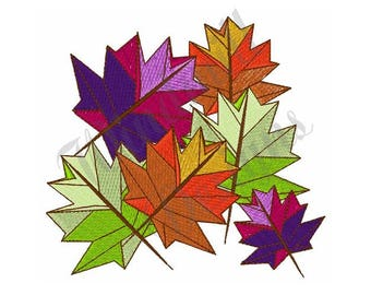 Colorful Fall Leaves - Machine Embroidery Design