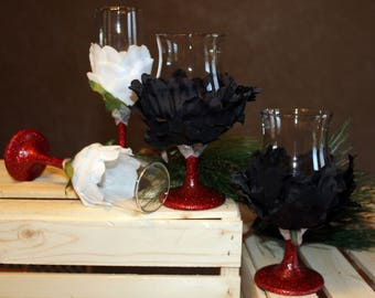 Glitter and Flower Wine Glasses and Champagne Flutes