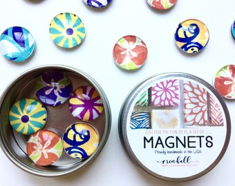 Magnets, Refrigerator Magnets, Set of 5 Magnets, Brightly colored magnets, Glass Bubble Magnet