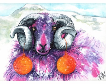 Christmas Sheep, Original Watercolour and Ink Painting