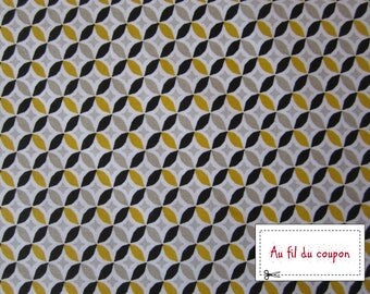 """Fabric 100% cotton """"Yellow circle"""" by 150 cm (width)"""