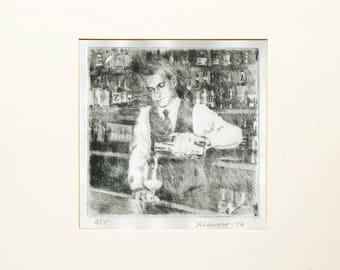 Signed Original Drypoint Print by Onelio Marrero (similar to etching): Bartender Pouring Drink ltd ed cotton Reeves BFK paper