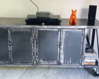 Industrial steel rolling TV cabinet