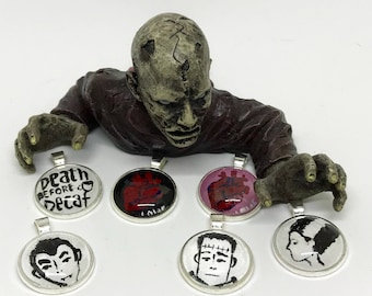 Hand painted horror pendants- movie monsters