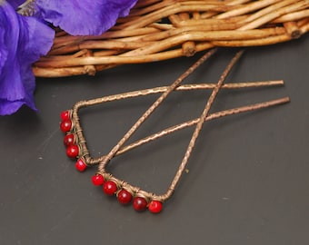 Simple wire hair sticks Hammered copper hair Hammered Brass Bun Pin Brass Hair Clip Copper wire hairpin Metal hair stick Metal Hair Clip