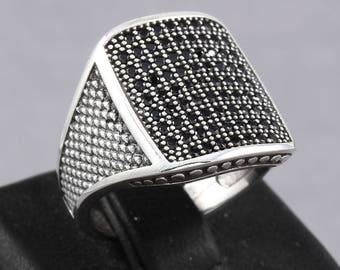 Handmade Turkish Dotted Pattern Black Onyx Stone 925 Sterling Silver Men's Ring (MR-607)