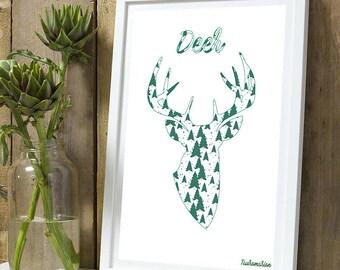 Christmas * deer silhouette tree A4 unframed print
