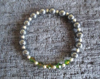Hematite and Swarovski Elements Beaded Bracelet