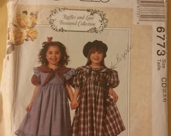 McCall's 6773 Girls Dress & Pinafore