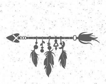 Indian Arrow Svg Feathers svg Boho svg Feathers svg Indian svg Boho Arrow Svg Silhouette Cricut svg Aztec svg Indian decorative element svg
