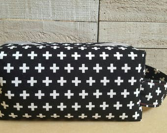 Medium Sized Project Bag for Knitting or Crochet; Box Bag; Toiletry or Makeup Bag - Crosses