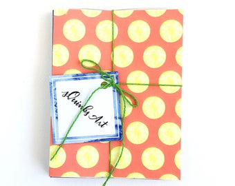 Citrus Snail Mail Kit | Greeting Cards with Coordinating Envelopes and Sticker Seals / Lemon Lime Orange Grapefruit / Papersource