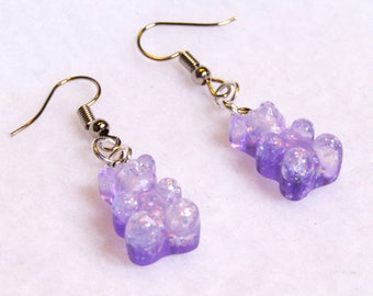 cute pastel purple sparkly gummy candy bear resin earrings