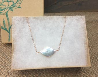 Freshwater pearl and rose gold necklace/pearl pendant necklace/gemstone pendant necklace