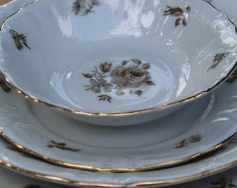 Vintage 5 piece place setting, Empress Gold Trim by Winterling
