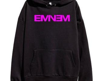 Eminem Pink Logo Hoodie Classic Hip Hop Rap Vintage Style Sweatshirt Revival Slim Shady Records Aftermath Entertainment Detroit