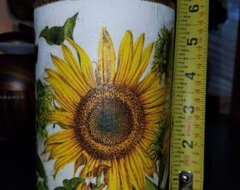 Sunflower Vase or Sunflower Candle Holder