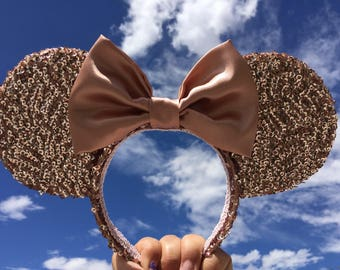 Rose Gold sequins ears, Rose Gold Minnie inspired Ears, Minnie Mouse ears, Mickey Mouse ears