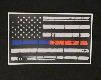 "American Flag Thin Blue Line Thin Red Line 5"" Magnet"
