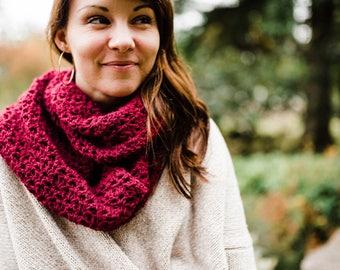 Burgundy / Maroon / Wine Crochet Infinity Scarf